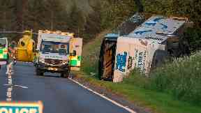 Crash: The road has been closed in both directions. A96  between Huntly and Cairnie Bus Crash