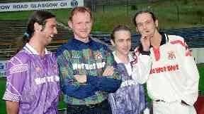 Marti Pellow, Tommy Cunningham, Neil Mitchell and Graeme Clark Wet Wet Wet Clydebank sponsorship