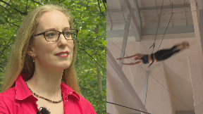 Scottish Greens co-leader Lorna Slater collage on flying trapeze.