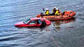 Discovery: A car was found submerged in the water.