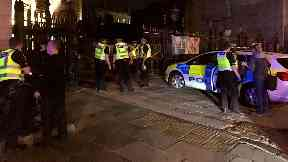 Edinburgh: The bank was cordoned off. St Andrews Square Royal Bank of Scotland Robbery