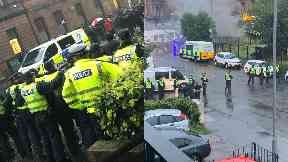 Govan: Riot police have been called. Glasgow
