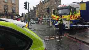 Leith Walk: The road has been closed by police. Man dead Lorry Edinburgh