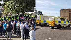 Protests: A police officer was injured. Irish republican marches Glasgow