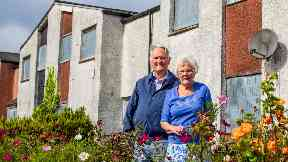 Joe Baxter, 78, and wife Isabel, 79 on ghost town Deans South estate in Livingston