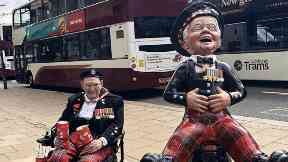 Tom Gilzean and Oor Wullie statue