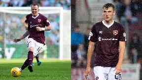 Andy Irving and Glenn Whelan of Hearts