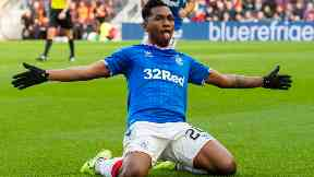 Alfredo Morelos celebrates 1-1 equaliser at Tynecastle October 20 2019