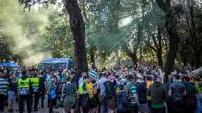 Celtic fans in Rome following win over Lazio 2-1 November 8 2019