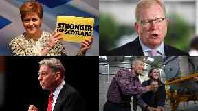 Collage of Scottish leaders. Nicola Sturgeon Jackson Carlaw Richard Leonard Willie Rennie (with Jo Swinson).