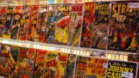 Rack of comic books
