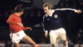 Glory days: Andy Gray was a star for Scotland before his television career took off.
