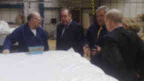 Business: Alex Salmond touring a factory at the start of the 2011 campaign.