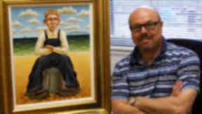 Interpretation: Artist Graham McKean with his painting of Oor Wullie.