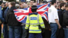 SDL: Police at previous demonstration of the far-right group.