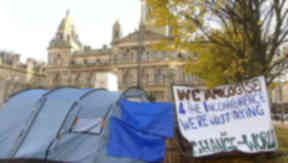 Camp: Activists moved from George Square.