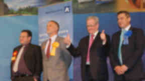 Stewart Stevenson, MP for Banff & Buchan Coast, celebrates victory in the recent parliament election