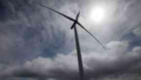 Windfarm Wind farm turbine. Quality image. GV of the Griffin Wind Farm near Aberfeldy in Perthshire