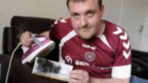 Ian Downie Hearts fan who ironed his ticket.