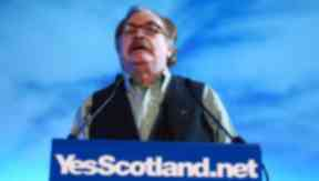 Actor Brian Cox addresses launch of the Yes campaign for independence in referendum. Quality image.