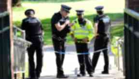 Homicide murder crime scene body at West Highland Way outside Milngavie Allander Water. Quality image