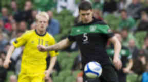 Darren O'Dea is action for the Republic of Ireland.
