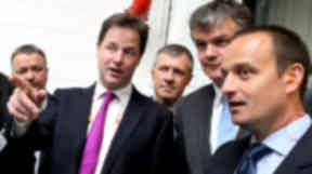 Nick Clegg at Mainetti factory with Michael Mooore and Willie Rennie