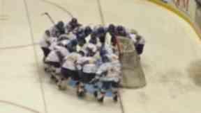Fife Flyers huddle at Braehead Arena, October 2012.