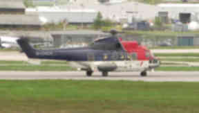 Image of a CHC Scotia Super Puma EC225 at Aberdeen Airport.