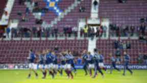 Hearts first team warms up at Tynecastle Stadium, September 2012.