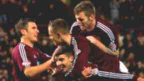 John Sutton, Callum Paterson, Gordon Smith and Darren Barr, Hearts, December 2012.