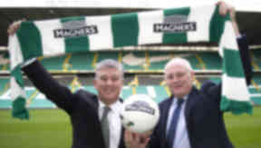 Celtic chief Peter Lawwell and Magners managing director Tom McCusker unveil three-year shirt sponsorship deal.