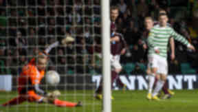 Celtic's Gary Hooper (right) grabs a second goal to make it 3-1 on the day