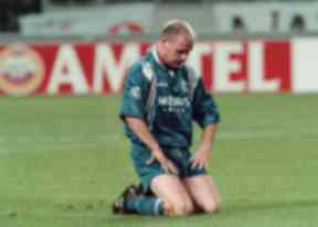 16/10/96 CHAMPIONS LEAGUE AJAX V RANGERS (4-1) AMSTERDAM - NETHERLANDS Paul Gascoigne struggles to lift himself as Rangers go a goal behind. The midfielder was later to be red carded after a clash with Winston Bogarde.