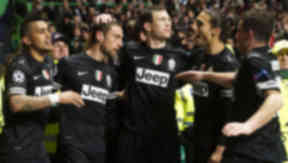 Juventus' Claudio Marchisio (2nd from left) celebrates his goal with his team-mates.