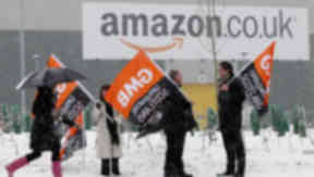 GMB protest at Amazon in Dunfermline, Fife.