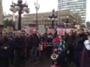 Learning disability cuts protest with Alasdair Gray.