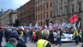 "Protest against housing benefit cut, branded a ""bedroom tax"" by opponents, in Glasgow on Saturday 30 March 2013."