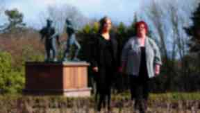 Kerri and Maureen Henderson in the Piper Alpha Memorial Garden