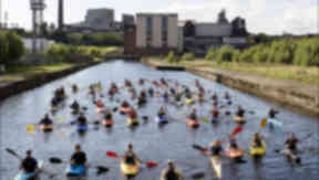 Canoeists on Forth and Clyde Canal, Glasgow.