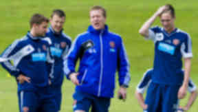 Gary Locke plus Hearts players, July 2013.