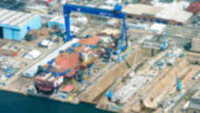 HMS Queen Elizabeth in Rosyth Dockyard Fife aerial photo