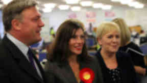 Dunfermline by-election 2013. Ed Balls with candidate Cara Hilton and Johann Lamont. SWNS pic.