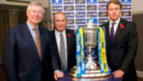 Sir Alex Ferguson (left), Scottish FA Vice-President Alan McRae (centre) and William Hill Group Finance Director Neil Copper help conduct the William Hill Scottish Cup fourth round draw.