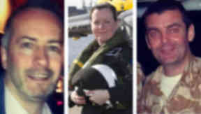 Three victims of the Clutha helicopter crash (left to right): Gary Arthur, PC Kirsty Nelis and Captain Dave Traill.