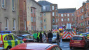 Emergency services at the scene of the explosion in Higholm Street, Port Glasgow, Inverclyde
