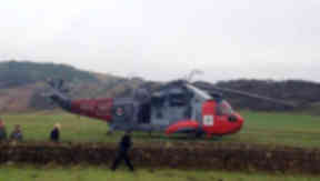 Royal Navy Sea King helicopter in Ardrossan after emergency landing January 17 2014