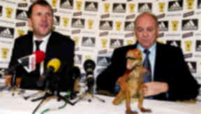Video: George Peat brings a plastic dinosaur to SFA press conference