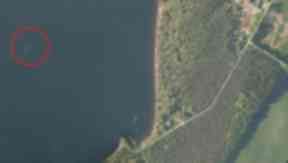 Sighting of Nessie on Loch Ness captured on Apple satellite images April 18, 2014.