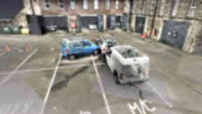A crash reconstruction from a 3D scanner being used by Police Scotland.